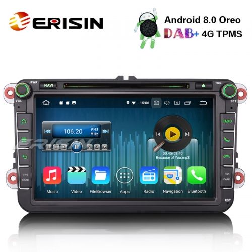 "Erisin ES8805V 8"" Android 8.0 Car Stereo CD SD OPS Satnav for VW Passat Golf Tiguan Eos Caddy Seat"