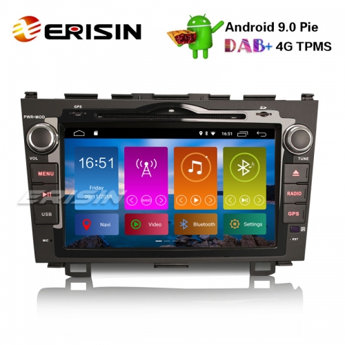 "Erisin ES2959H 8"" Android 9.0 Autoradio DAB + Auto-DVD-Player GPS-Navi-CD Wifi SWC TPMS DVB-T2 HONDA CR-V 2006-11"