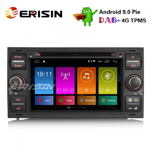 "Erisin ES2931FB 7"" DAB + Android 9.0 Autoradio GPS Satellitennavigation 4G Ford Focus Transit S / C-Max Kuga Galaxy"