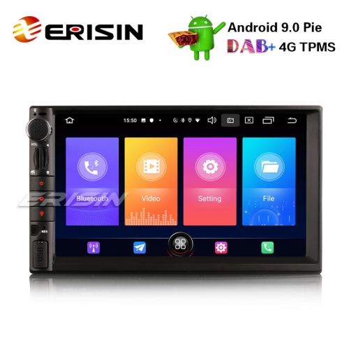 "Erisin ES2649U 7"" 2 Din Android 9.0 Autoradio GPS WiFi DAB + DVR DVB-T2-EINGANG BT OBDII Satellitennavigation USB"