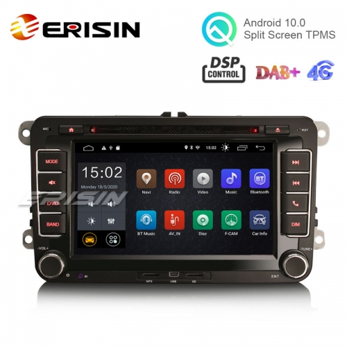 "Erisin ES2655V 7"" Android 10.0 Car Radio DVD GPS Sat 4G Wifi DSP for VW Seat Skoda"