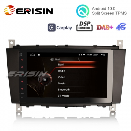"Erisin ES4287C 8"" Android 10.0 OS Car GPS 4G TPMS DAB+ Apple CarPlay DSP for Benz C-Class W203"