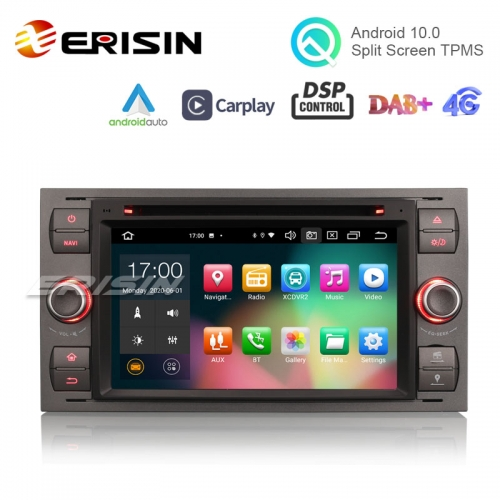 "Erisin ES8166F 7"" Android 10.0 Car Stereo for Ford Fusion Kuga Mondeo Fiesta DSP CarPlay & Auto GPS TPMS DAB+ 4G DVD System"