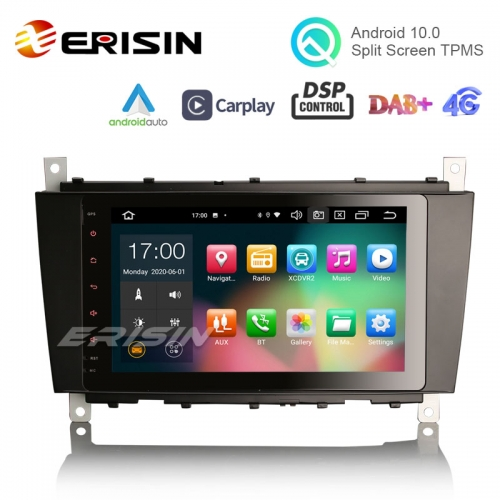 "Erisin ES8189C 8"" Octa-Core Android 10.0 Car Multimedia CarPlay & Auto GPS DSP DAB+ for Mercedes Benz C-Class W203"