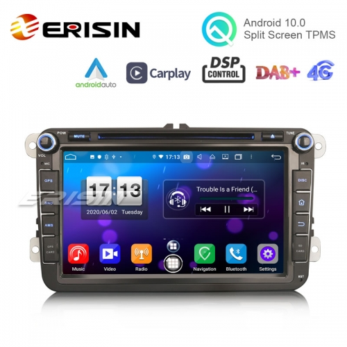 "Erisin ES8715V 8"" DSP Android 10.0 Car Radio CarPlay & Auto GPS 4G DAB+ WiFi for VW Seat Skoda"